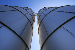 Silo towers. Wide angle shot of silo towers from below Stock Images