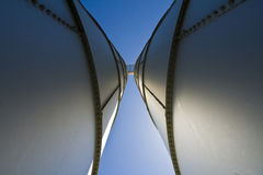 Silo towers. Wide angle shot of silo towers from below Stock Image