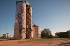 Silo trail artwork in Patchewollock royalty free stock photo