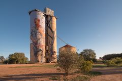Silo trail artwork in Patchewollock stock photography