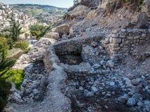 Siloam水池,考古学站点,耶路撒冷 免版税库存图片