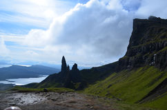 Silohetted Landscape and Views of The Storr. Silhoutted highlands with towering rocks reaching to the clouds Royalty Free Stock Image