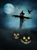Silohouette di uno spaventapasseri nei campi di erba alla notte illustrazione vettoriale