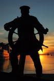 Silohuete del monumento del marinero, embarcadero de la marina de guerra, Chicago Fotos de archivo libres de regalías