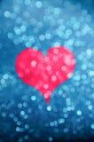 Silohuette мадженты Bokeh сердца Стоковое Фото