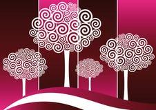 silohuttes ruszać się po spirali drzewa Fotografia Stock