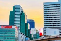 Silom财政区建筑学看法  库存图片