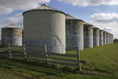 Silos. A row Storage Silos Royalty Free Stock Images