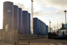 Silos at Aberdeen Harbour, Scotland Royalty Free Stock Photography