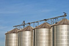 Silos in beautiful landscape Stock Photos