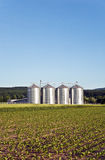 Silos in beautiful landscape Royalty Free Stock Photos