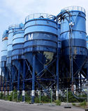 Silos. Blue silos on industrial ground Stock Photo