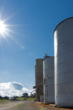 Silos on Blue Sky Stock Images