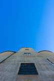 Silos on Blue Sky 3. Looking up towards the top of a large silo against blue sky Stock Photos
