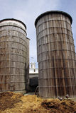 Silos and chickens Stock Image