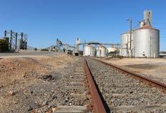 Silos del grano ad un deposito di stoccaggio e della stazione ferroviaria Fotografie Stock