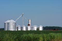 Silos di immagazzinamento dell'azienda agricola Fotografie Stock