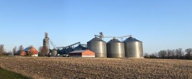 Silos do elevador de grão da exploração agrícola de leiteria de Wisconsin Fotografia de Stock Royalty Free