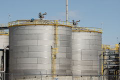 Silos of Ethanol Plant. Grain silos or storage bins of ethanol plant in the midwest royalty free stock photo