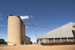 Silos with farming shed Stock Image