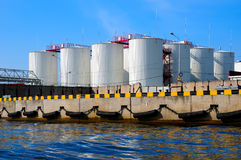 Silos in harbour royalty free stock image