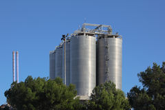 Silos In A Oil Refinery Stock Images