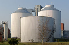 Silos of an industrial plant Royalty Free Stock Photos