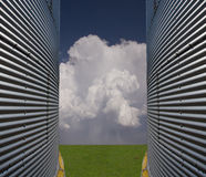Silos and landscape. With cloud Royalty Free Stock Image