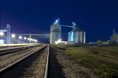 Silos at night Royalty Free Stock Photo