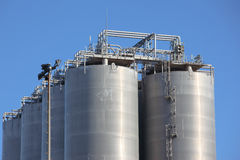 Silos in a oil refinery Royalty Free Stock Photography