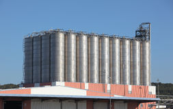 Silos in a oil refinery Royalty Free Stock Photo