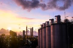 Silos in petrochemical industry plant at  sunrise Royalty Free Stock Photography