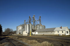 SILOS BY RAILROAD TRACKS Stock Photos