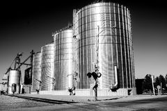 Silos on Railroad Tracks in Wall, South Dakota stock photo