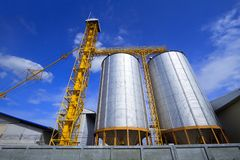 Silos or rice mills. Silos or rice mills for agricultural crops Stock Image