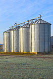 Silos in in rural landscape in wintertime Royalty Free Stock Photo