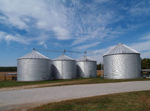 Silos Soybean Field And Copy Space Stock Photo