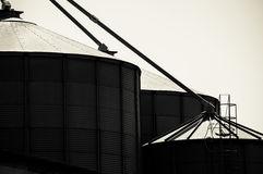 Silos in Tuscany. For wine and cereal storage. Black and white Royalty Free Stock Photo