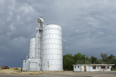 Silos under Stormy Sky Royalty Free Stock Images