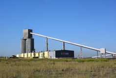 Silos used for loading trains at a coal mine in south dakota Stock Photo