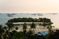 Siloso beach at Sentosa island stock photo
