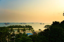 Siloso strand på den Sentosa ön Arkivfoto