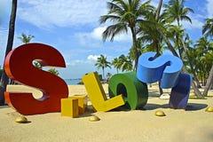 Siloso-Strand, Sentosa, Singapur Stockbild
