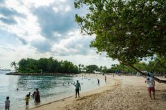 Silosostrand bij Sentosa-eiland in Singapore royalty-vrije stock foto's
