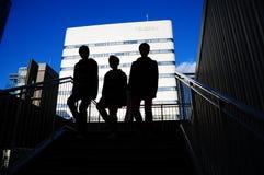 Silouets de los muchachos japoneses del scool Fotografía de archivo libre de regalías