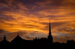 Silouette de Stockholm avec le ciel brûlant photo libre de droits