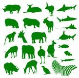 Silouette degli animali Fotografia Stock Libera da Diritti