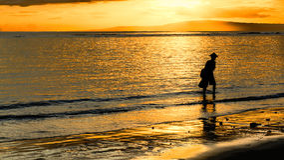 Silouette di un pescatore tradizionale ad alba Immagine Stock