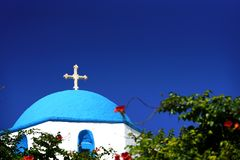 Silouette of the dome of a church in Greece with a blue sky. Typical silouette of the dome of a church in Greece with a blue sky coast sea building summer stock photos