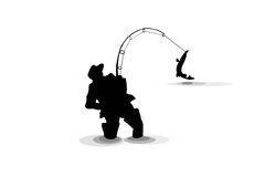 Silouette fishing with a pike isolate Royalty Free Stock Photo
